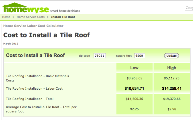 Homewyse cost to install a tile roof legacy roof for Cost to roof a house calculator